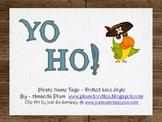 Yo Ho!  Pirate Name Tags (Dotted)