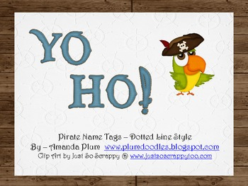 Yo Ho!  Pirate Name Tags (Dotted)