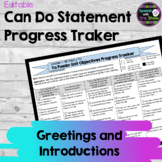 Yo Puedo I Can Objectives Tracker: Spanish 1 Unit 1 Greetings & Introductions