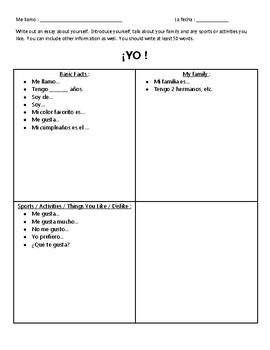 Yo - Spanish Writing About Yourself