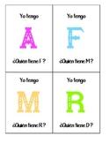"""""""Yo Tengo, ¿Quién Tiene?"""" juego del abecedario"""