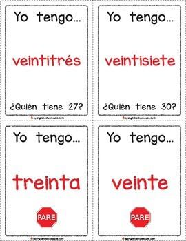 Yo Tengo, Quién Tiene Palabras de Números {I Have, Who Has Number Words Spanish}