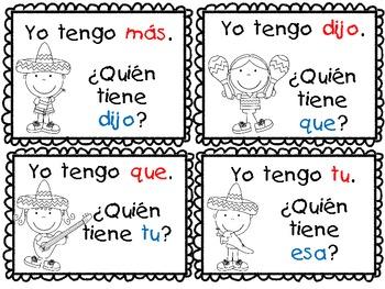 Yo Tengo...Quien Tiene...? A Spanish Sight Word Game