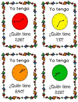 Yo Tengo...Quien Tiene...Telling Time Zip-Around Game in Spanish