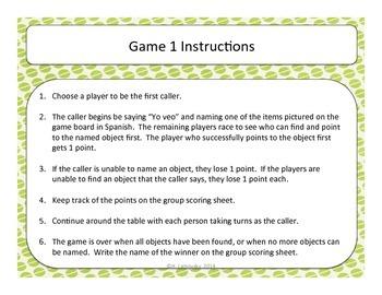 Yo Veo (I Spy) Vocabulary Game Kit:  Food Edition