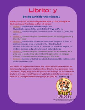 Yo + acción + y + acción - Librito de palabras frecuentes - HFW books Spanish