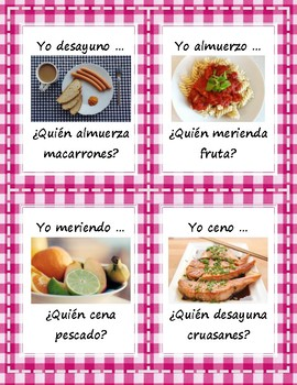 Yo desayuno/almuerzo/ceno.. ¿Quién desayuna/almuerza/cena..?(Comida) - Card Game