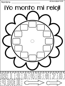 Yo monto mi reloj - Spanish build a clock worksheet