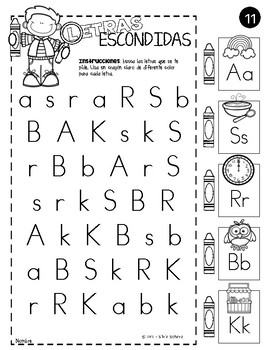 Yo puedo identificar letras y sonidos - Letras escondidas