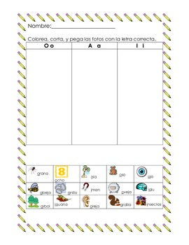 Yo puedo leer mis vocales (Spanish sorting activity with A