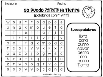 Yo puedo salvar la Tierra - A Spanish Phonics Center for r and rr Words