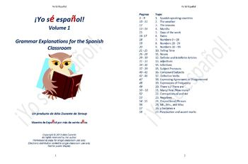 Grammar Explanations for the Spanish Classroom Volume 1