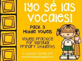 Yo sé las vocales – Pack 3:  Middle Vowel Sounds in Spanish