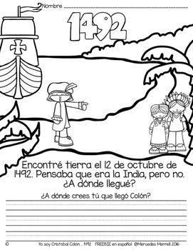 Yo soy Cristóbal Colón...1492 FREEBIE en español