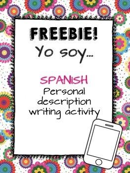FREEBIE! Yo soy... Personal Description Writing Activity