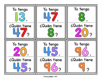 Yo tengo... ¿Quién tiene...?  Los números 0-120 (Spanish Number Game)
