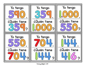 Yo tengo... ¿Quién tiene...?  Los números 100-1,000 (Spanish Number Game)