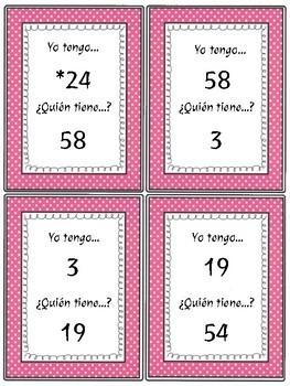 Yo tengo ...¿Quién tiene ...? Numbers - 1-100 Spanish