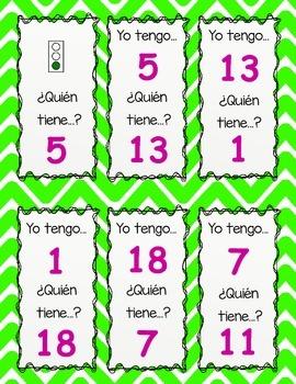 Yo tengo Quien tiene? Numbers to 20 in Spanish