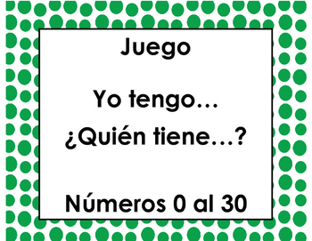 Yo tengo… ¿Quién tiene…? Números 0 al 30 (Spanish- I have/Who has) game juego)