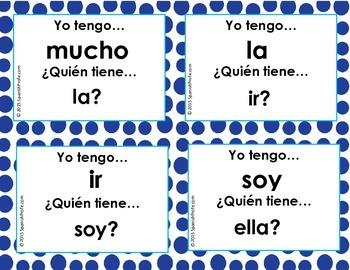 Yo tengo ¿Quién tiene? Palabra uso frecuente (Spanish I have Who has) game juego