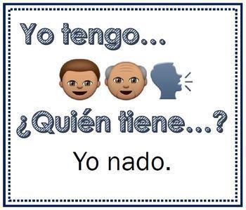 I have Who has / Yo tengo ¿Quién tiene? AR Verbs with Emojis