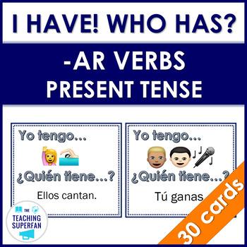 Yo tengo ¿Quién tiene? Regular Present Tense AR Verbs with Emojis