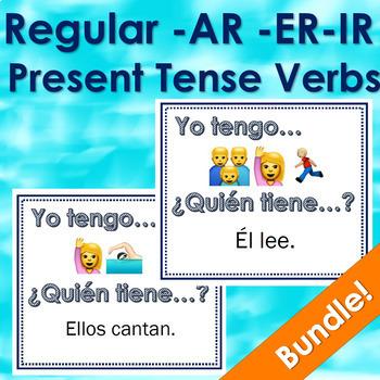 Yo tengo ¿Quién tiene? Regular verbs with Emojis - Bundle