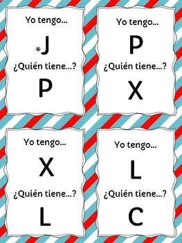 Yo tengo ...¿Quién tiene ...? Spanish Alphabet