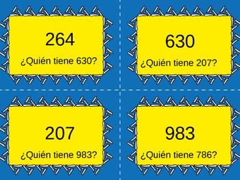 Yo tengo, ¿Quién tiene? Spanish Higher Numbers 100 to 1000