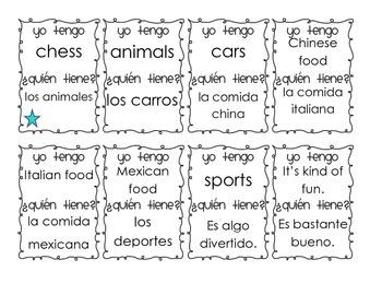 Yo tengo, ¿Quién tiene? game for Spanish 1 Likes and Dislikes Vocabulary