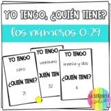 Yo tengo, ¿Quién tiene? game for Spanish Los Números 0-39