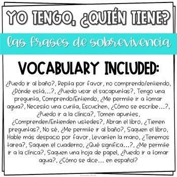 Yo tengo, ¿Quién tiene? game for Spanish Classroom Survival Phrases
