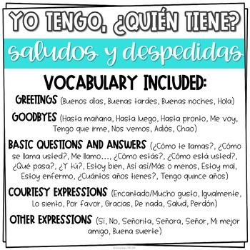 Yo tengo quin tiene game for spanish greetings saludos y yo tengo quin tiene game for spanish greetings saludos y despedidas m4hsunfo
