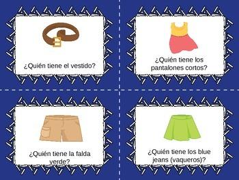Yo tengo, ¿Quién tiene? Spanish Clothing Vocabulary Card Game