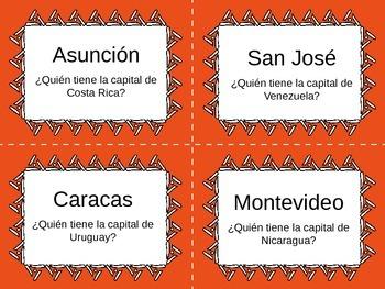 Yo tengo, ¿Quién tiene? Spanish-Speaking Countries and Capitals Card Game
