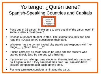 Yo tengo, ¿Quién tiene? Spanish-Speaking Countries and Cap