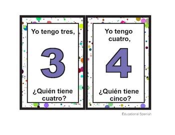 Yo tengo..., ¿quién tiene?, Números 1-20 / Numbers 1-20