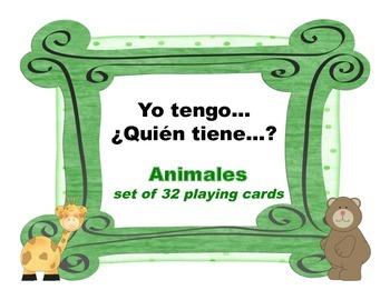 Yo tengo quien tiene animales set of 32 cards
