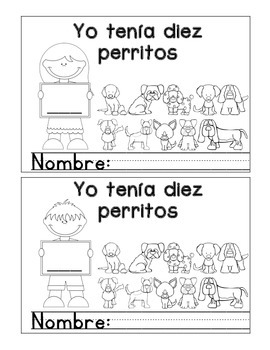 Yo tenia diez perritos  Librito-Mini Book