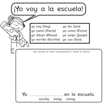 Yo voy a la escuela: A beginning Spanish verb workbook/reader
