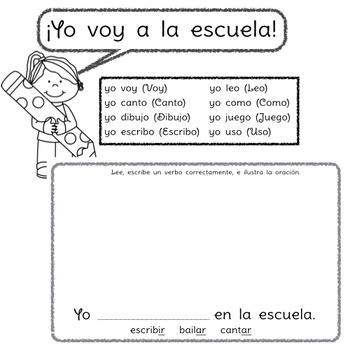 Yo voy a la escuela: A beginning Spanish verb workbook/reader