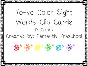 Yo-yo Color Sight Word Clip Cards