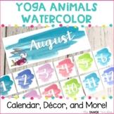 Yoga Animal Watercolor Classroom Decor, Calendar, and More