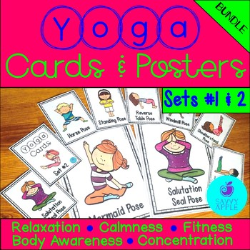 Yoga Cards and Posters - BUNDLE - Sets #1 and 2 - Savvy Apple