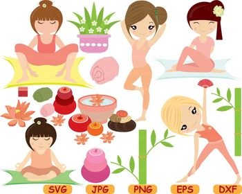 Yoga Fitness Health SVG Cutting files Clip Art exercise aerobic school sport 68S