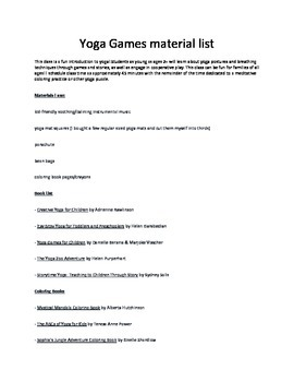 Yoga Games Material List