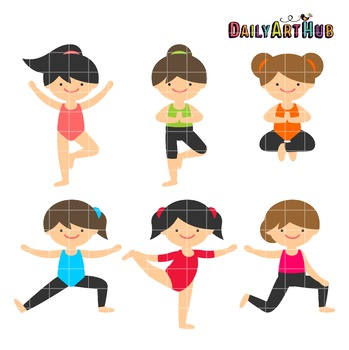 Yoga Girls Clip Art - Great for Art Class Projects!