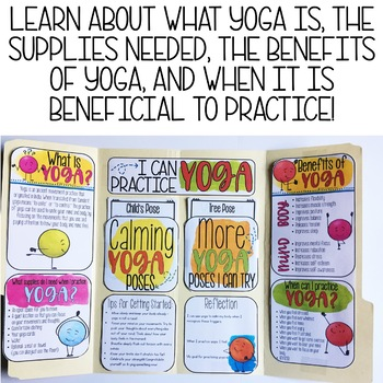 Yoga Lap Book with Yoga Poses for Calming Strategies School Counseling