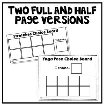 Yoga Pose Choice Board | Stretches Choice Board